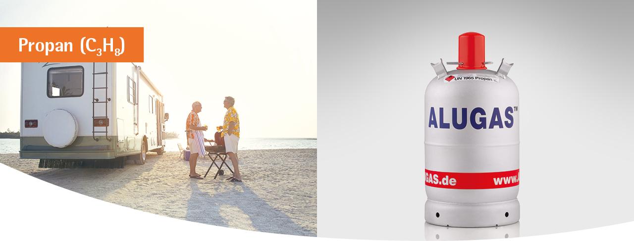 GlobalGas Alugas C3H8 Gasflasche für den Camping-Einsatz.