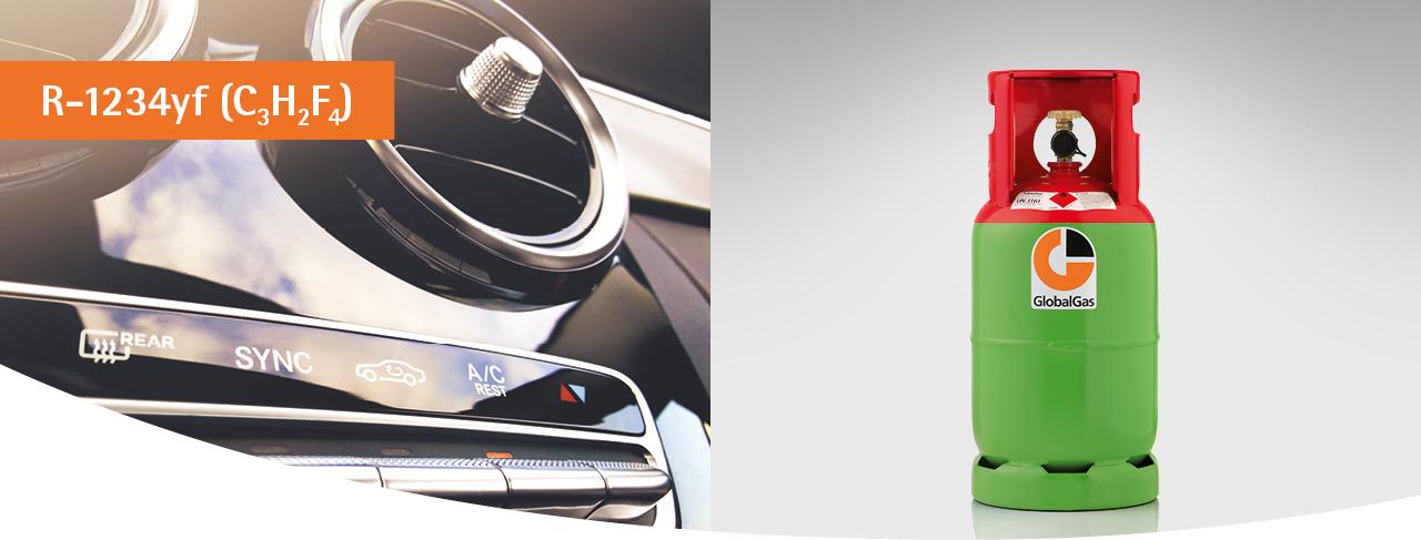 GlobalGas Gasflasche mit Kältemittel R-1234yf für PKWs.