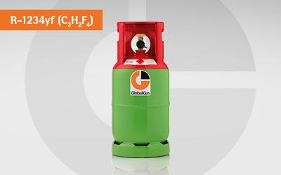 Detailansicht R-1234yf Kältemittel Gasflasche für die PKW-Klimatisierung