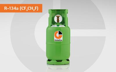 Detailansicht R134a Kältemittel Gasflasche für die PKW-Klimatisierung