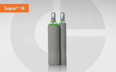 Detailansicht GlobalGas Sagox Zweier Gasflasche Sagox 18 Gasgemisch.