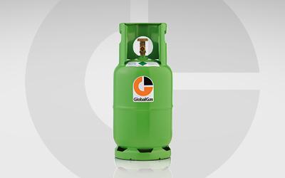 Detailansicht R134a Kältemittel Gasflasche für die PKW-Klimatisierung.