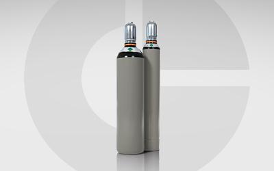Detailansicht: GlobalGas Stickstoff Gasflaschen mit Stickstoffgas N2.
